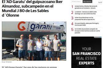 Diario Vasco – El 'AD Garatu' del guipuzcoano Iker Almandoz, subcampeón en el Mundial J 80 de Les Sables d´Olonne