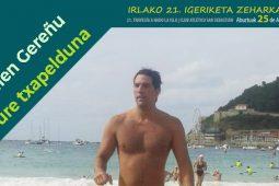 Julen Gereñu, responsable de Sistemas de Grupo Garatu en la XXI travesia a nado a La Isla