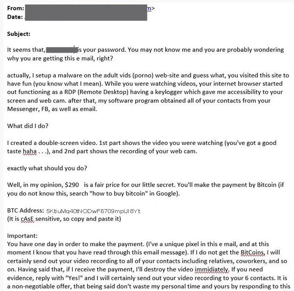 Blackmail porno: correos electronicos de ciberdelincuentes que te piden rescate en bitcoins