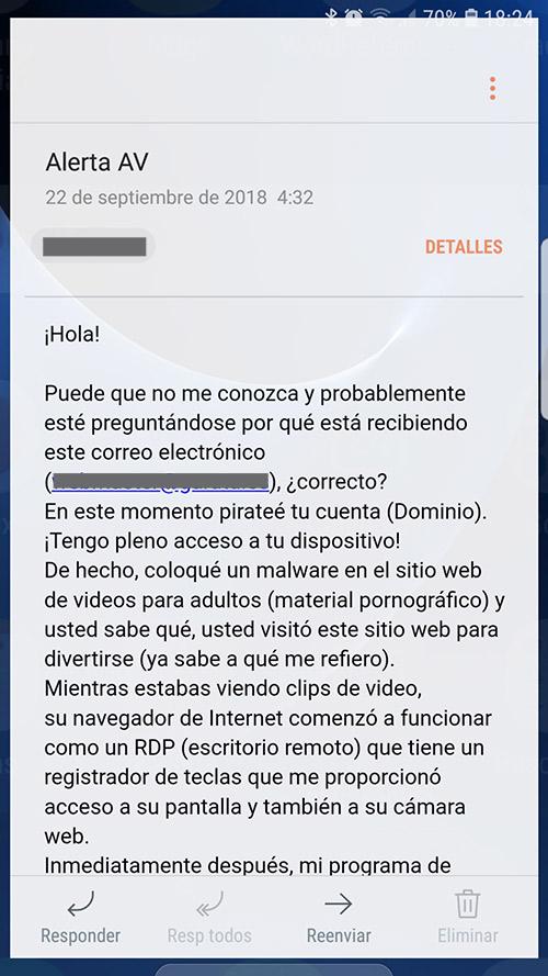 Estafas Blackmail porno: correos electronicos ciberdelincuentes